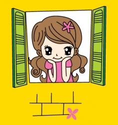 cute girl on window vector image