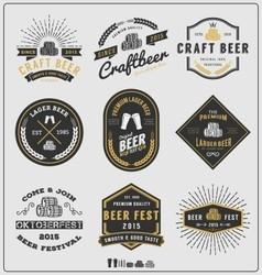 Set of vintage beer badge logo and labels template vector