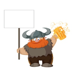 viking with blank sign and beer vector image vector image
