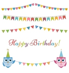 Birthday garlands flags and two owls vector image vector image