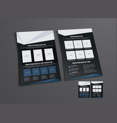 black flyer template with abstract geometric vector image vector image