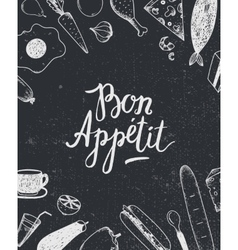 Bon appetit graphic poster with food vector