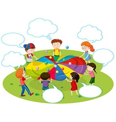 Children playing color balls in the park vector image