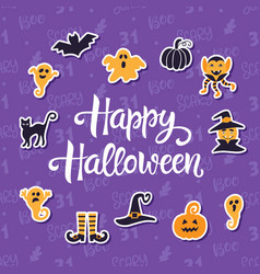 happy halloween banner with halloween icons vector image vector image