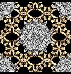 seamless pattern golden element on black colors vector image