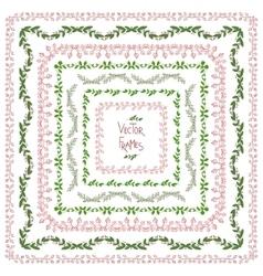 Set of decorative floral square frames vector image vector image