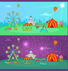 circus banner set horizontal cartoon style vector image vector image