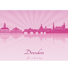 Dresden skyline in purple radiant orchid vector image vector image