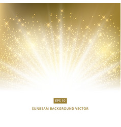 golden background sunbeam with gold glitter vector image vector image