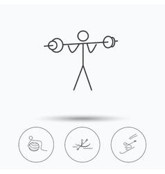 Gymnastics kayaking and skiing icons vector image