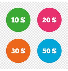 money in dollars icons ten twenty fifty usd vector image