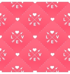 Seamless white pattern with Love heart and arrow vector image vector image