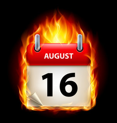 sixteenth august in calendar burning icon on vector image vector image