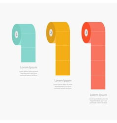 Toilet paper roll set Dash line Flat design Three vector image