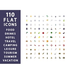 110 flat icons Traveling camping hotel vector image vector image