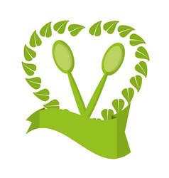 Food healthy vegetarian natural label vector