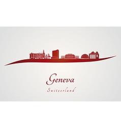 Geneva skyline in red vector image