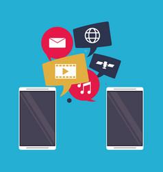 mobile applications sharing social media interface vector image vector image