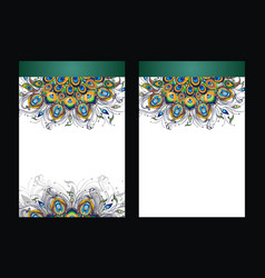 peacock feathers design of cover vector image