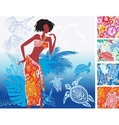 turtles print beach clothing vector image vector image