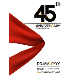 45 anniversary design with big red ribbon vector
