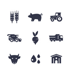 Agriculture farming icons isolated on white vector