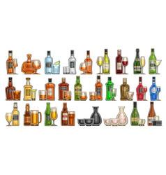 Alcohol set vector