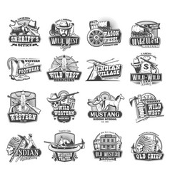 american western wild west cowboy icons vector image