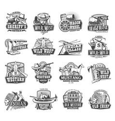 American western wild west cowboy icons vector