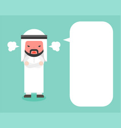 Angry arab businessman and blank speech bubble vector