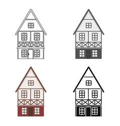 Bavarian house icon in cartoon style isolated on vector