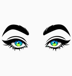 Beautiful cute female eyes in cartoon style vector