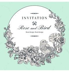 Beautiful round frame with roses and bird in vinta vector image vector image