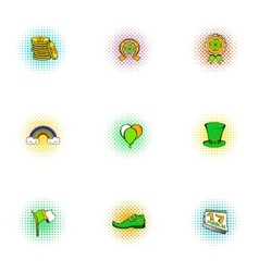 Beer festival Saint Patrick day icons set vector