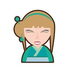 Cartoon pretty geisha green kimono vector