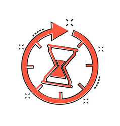 cartoon time icon in comic style hourglass sign vector image