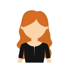 Character young woman black shirt vector
