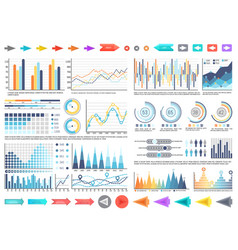 charts and pie diagrams with numbers information vector image