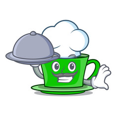chef with food green tea mascot cartoon vector image