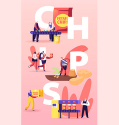 Chips manufacture concept people produce snack vector