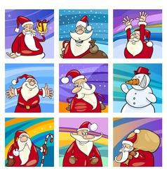 Christmas Santa cards set vector