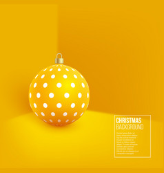 christmas yellow bauble with geometric pattern 3d vector image