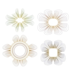 Collection of guilloche rosettes vector image