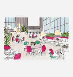 Colorful sketch of modern restaurant or cafe vector