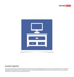 Computer table icon - blue photo frame vector
