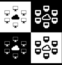 Computers nerk sign black and white icons vector