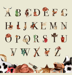 Cowboy alphabet design with cow skull cactus vector