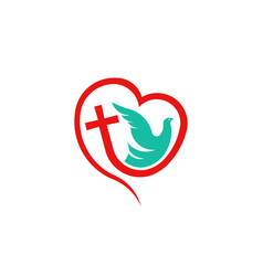 cross heart with dove religion logo vector image