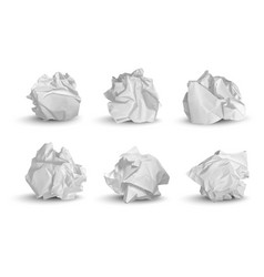 Crumpled balls 3d garbage paper idea notes trash vector