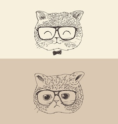 Cute cat kitten in glasses hipster style engraved vector